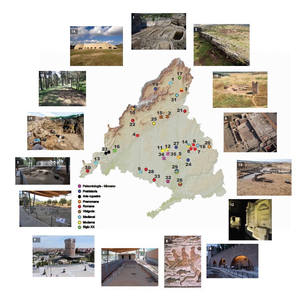 Mapa de yacimientos de la Comunidad de Madrid